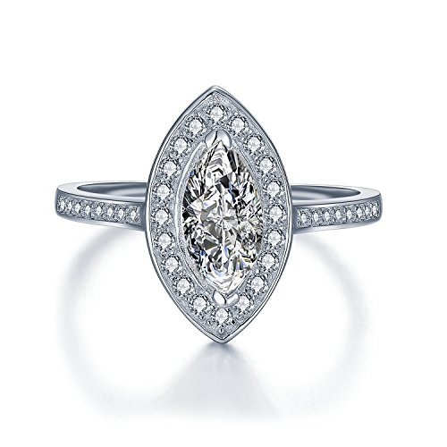 Women's Marquise Cut Engagement Ring - Fancy Simulated Diamond Crystals CZ Cocktail Ring Style - Vintage Art Deco Celebrity Look Sterling Silver - Sizes I - T (7.25)
