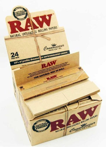 Raw Classic Connoisseur King Size Slim with Tips Rolling Paper Full Box of 24 Packs