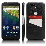 Nexus 6P Case, HL Brothers Card Slot Vintage Cases Series, Premium Crocodile Pattern PU Leather Wallet Case Back Cover for Huawei Google Nexus 6P 2015 Smartphone (Black)