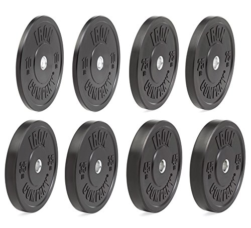 IRON COMPANY Premium Black Virgin Rubber Olympic Bumper Plate 230 lb. Set for Crossfit Workouts and Olympic Weightlifting - IWF Specifications by Ironcompany.com