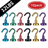 Heavy Duty Magnetic Hooks, AUTIDEFY Strong Neodymium Magnet Hook for Indoor Outdoor Kitchen Bathroom Bedroom Garage Lockers Office (6 Assorted Colors)
