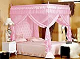 Pink Princess 4 Corners Post Bed Curtain Canopy Mosquito Netting (Twin)
