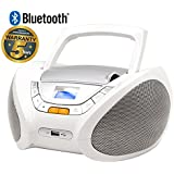 Lauson CD-Player   Bluetooth   Tragbares Stereo Radio   Kinder Radio   Stereo Radio   Stereoanlage   USB   CD / MP3 Player   Radio   Kopfhöreranschluss   AUX IN   LCD-Display   Batterie sowie Strombetrieb   CP450 (Weiß)