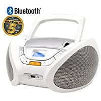 Lauson - CP450 - Lecteur Radio CD Portable avec Port USB / Mp3, Bluetooth Blanc