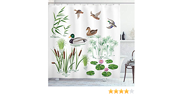 Ambesonne Rubber Duck Shower Curtain Lake Animals And Plants With Lily Flowers Reeds Cane In The Pond Nature Park Cloth Fabric Bathroom Decor Set With Hooks 70 Long Green White Home