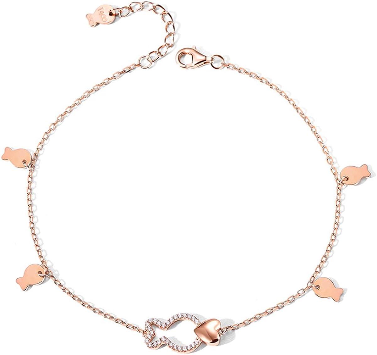 T400 925 Sterling Silver Anklet Rose Gold Clownfish Adjustable Link Bracelet for Women Love Gift with Cubic Zirconia