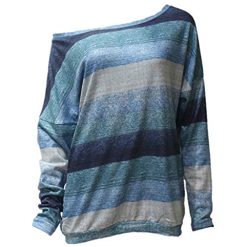 - Sunhusing Ladies Colorful Geometric Wavy Stripe Print Long Sleeve Round Collar Off Shoulder T-Shirt Top (L, დ Green)
