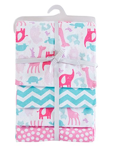 PHF 100% Cotton Flannel Receiving Blankets Warm for Winter Unisex 30x40 Pink 4 Count