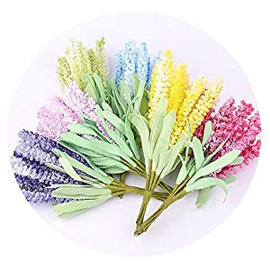 HuaHua-Store 10Pcs/Lot Artificial Flowers Mini Foam Lavender Bouquet for Wedding Home Decoration DIY Craft Gift Bridal Wreath 67