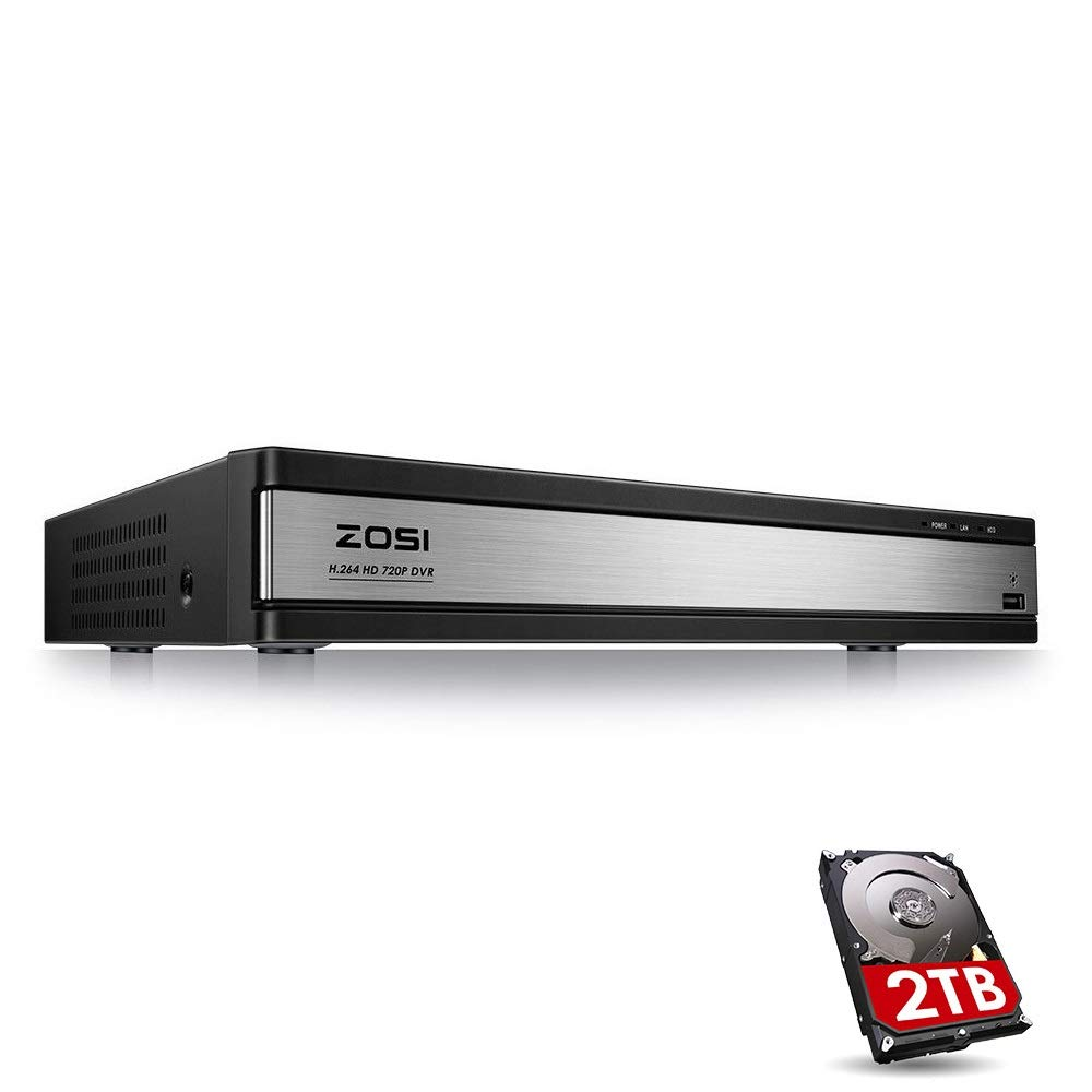 ZOSI 720p 16 Channel Security DVR Recorder, H.264 1080N Hybrid 4-in-1 TVI DVR System(Analog/AHD/TVI/CVI),Motion Detection,Mobile Remote Control,Email Alarm,2TB Hard Drive Included