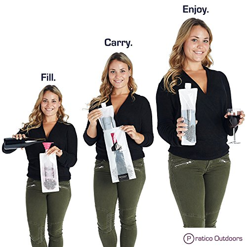 WineCubby – Reusable Foldable Wine Bag Set – Includes Wine Bottle Carrying Case & Collapsible Funnel