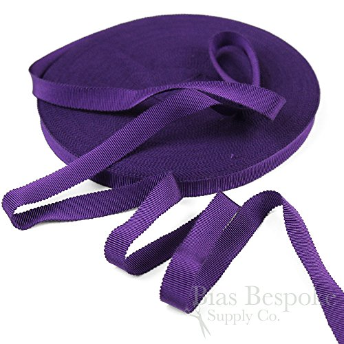 (3 Yards of Vera 9/16'' Cotton & Viscose Petersham Grosgrain Ribbon, Royal Purple, Made in Italy)