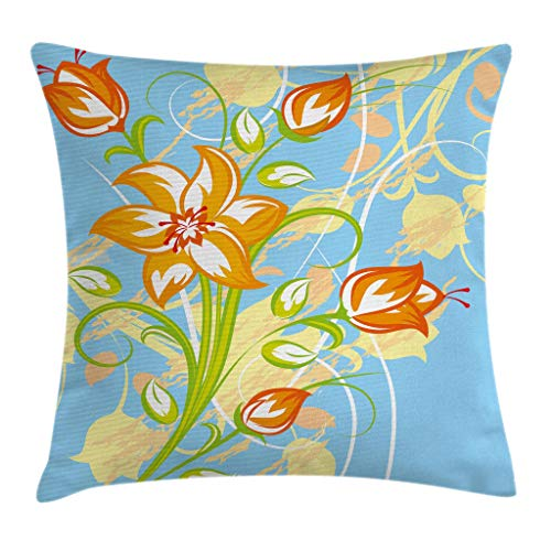 - Ambesonne Floral Throw Pillow Cushion Cover, Tiger Lily in Retro Vibrant Colors Essence Buds Florets Picture, Decorative Square Accent Pillow Case, 16 X 16 Inches, Light Yellow Orange Sky Blue