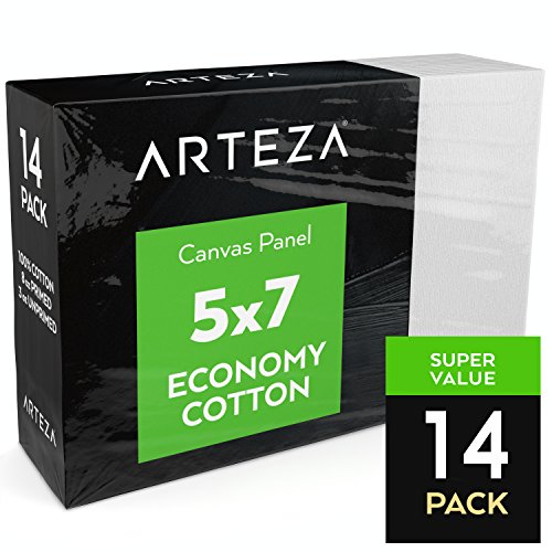 Arteza Painting Canvas Panels, 5x7, Set of 14, Primed White, 100% Cotton with Recycled Board Core, For Acrylic, Oil, Other Wet or Dry Art Media, For Artists, Hobby Painters, (Media Cotton Canvas)