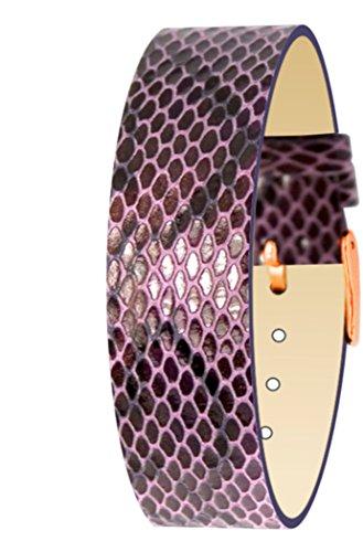 Moog Paris Purple Calf Leather Bracelet for Women, Python Pattern, Pin Clasp, 18mm Band - PY-14RG