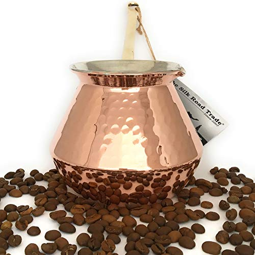 The Silk Road Trade - DC Series - Thickest Gorgeous Hammered Copper Turkish Greek Arabic Copper Coffee Pot/Coffee Maker Ibrik Briki with Cast Solid Bronze Handle - New Style 2018 (20 fl oz) by The Silk Road Trade (Image #3)