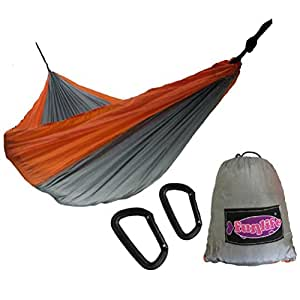 Double Nest Camping Hammock with Utra lightweight Alu Carabiners - Parachute Nylon Hammock