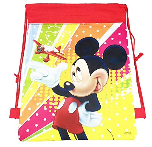 12 Disney Mickey Mouse (JDProvisions 12 Piece Disney Mickey Minnie Drawstring Bag Backpack for Party Favors Goodie Gift Birthday Bags 10
