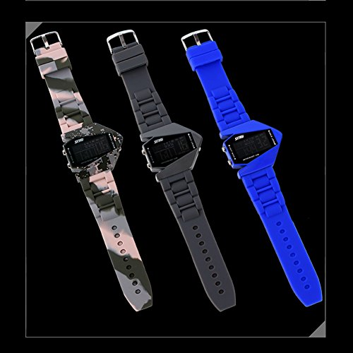 Skmei 0817b Sport Water-proof Stealth Fighter Style Wrist Watches Colorful Light Digital with Military Cool LED Display Silicone Strap Watche