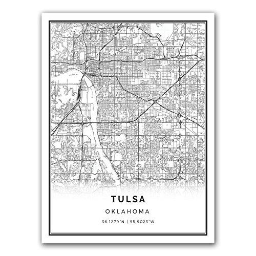 Tulsa map poster print | Modern black and white wall art | Scandinavian home decor | Oklahoma City prints artwork | Fine art posters 18x24 ()