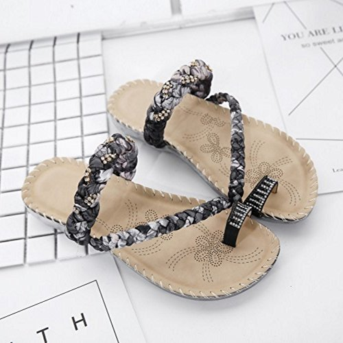 Sandales Femmes Chaussures Ete Noir Boheme Mode Slide Plates TAOFFEN Plage 7Fw6qw