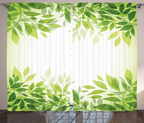 Ambesonne Leaves Decor Collection, Modern Style Print Frame of Tree Leaves Branches Feng Shui Home Office Illustration, Living Room Bedroom Curtain 2 Panels Set, 108X84 Inches, Green Yellow