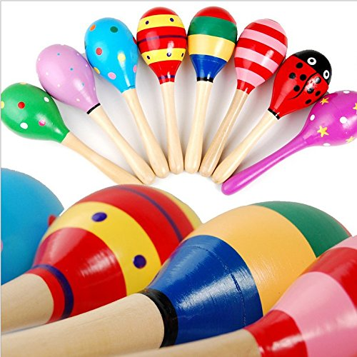 8pcs rattle made of wood sand ball sand hammer infant educational toys musical instruments