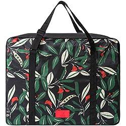 CalorMixs Large Nylon Travel Tote Luggage Men's Weekender Duffle Bag Foldable Duffel Express Travel Duffel Bag (Black Flower)