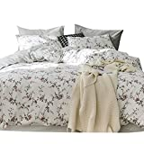 MKXI Flower Duvet Cover Set, Floral Romantic Rose Printed White Bedding Sets Soft Lightweight Cotton 1 duvet cover and 2 Pillow Shams Queen