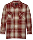 Pendleton Men's Long Sleeve Worsted Wool Board Shirt, Wine Tan Ombre, XL