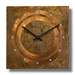 Patinated Copper Rustic Square Decorative Wall Clock 12-inch Silent Non Ticking for Home / Office / Kitchen / Bedroom / Living Room