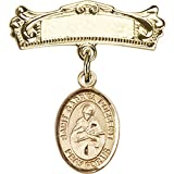 14kt Yellow Gold Baby Badge with St. Gabriel Possenti Charm and Arched Polished Badge Pin 7/8 X 3/4 inches