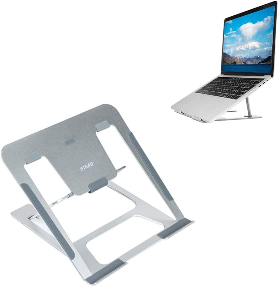 "Laptop Stand Compatible with Apple MacBook Air/Pro Portable Laptop Riser Adjustable Foldable Notebook Stands Holder for Desk for Samsung, Lenovo and More Laptops up to 7""- 15"" Silver, 2019 New Design"