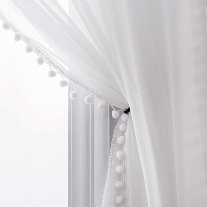 Selectex Linen Look Pom Pom Tasseled Sheer Curtains Rod Pocket Voile Semi Sheer Curtains For Living And Bedroom Set Of 2 Curtain Panels 52 X 84 Inch White Amazon Ca Home Kitchen