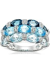 Sterling Silver, London Blue Topaz, Swiss Blue Topaz, Light Blue Topaz, and Diamond Ring, Size 7