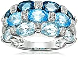 Sterling Silver London Blue Topaz, Swiss Blue Topaz, Light Blue Topaz and Diamond Ring