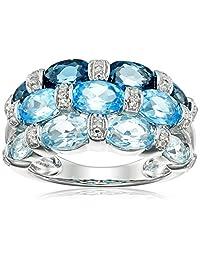 Sterling Silver London Blue Topaz, Swiss Blue Topaz, Light Blue Topaz and Diamond Ring