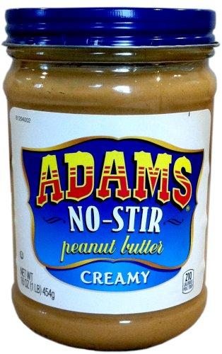 Adams NO-STIR Natural CREAMY PEANUT BUTTER 16oz (4 Pack)