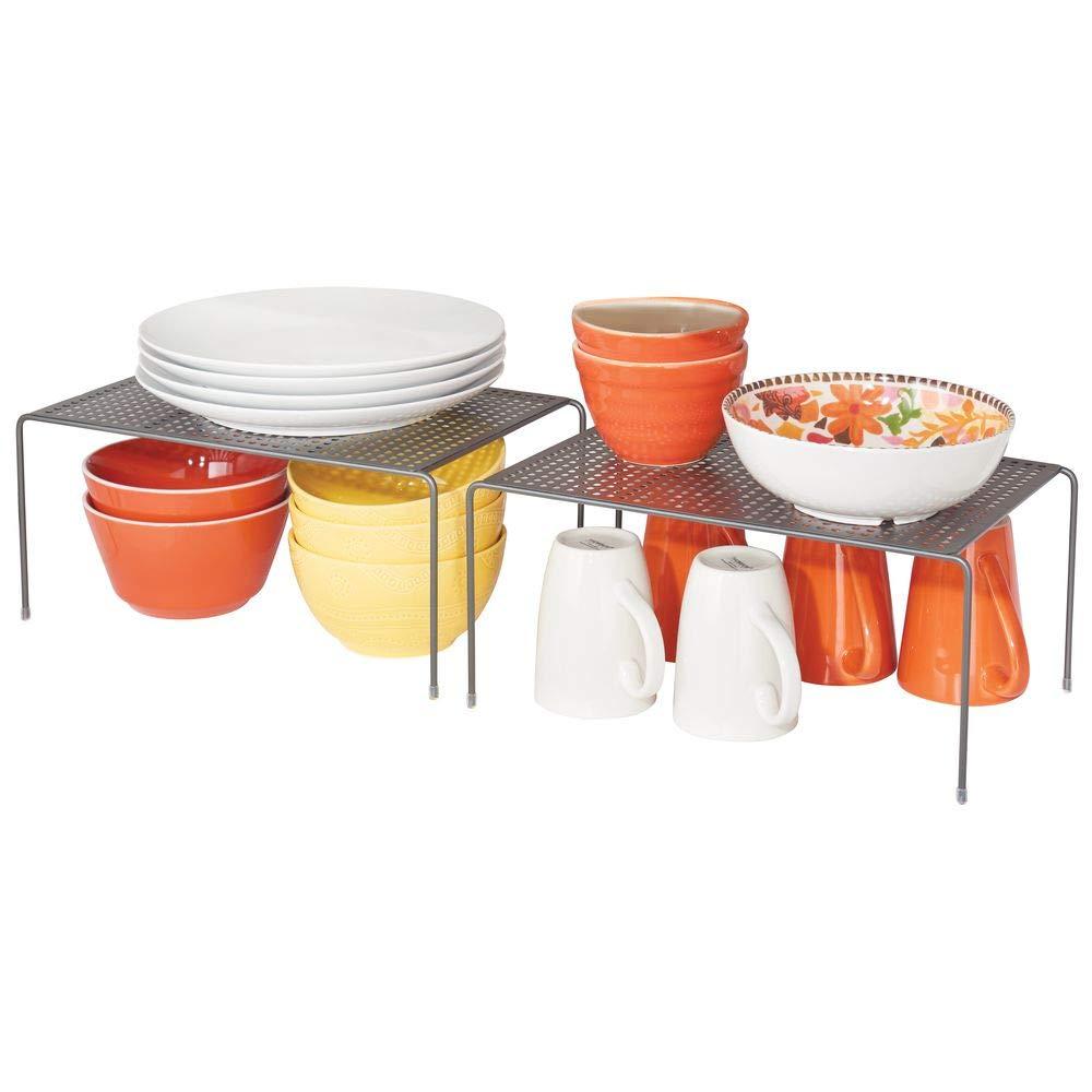 MetroDecor mDesign Set de 2 étagère Cuisine – Rangement Cuisine autoportant en métal – Range Vaisselle de Cuisine pour Tasses, Assiettes, Aliments, etc. – Gris