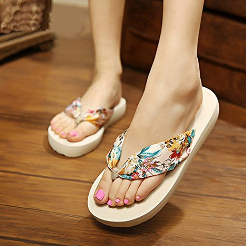 Womens Flip Flops, Fascigirl Thong Sandals Bohemian Thick Bottom Anti Slip Summer Beach Slippers Beige S