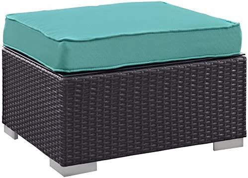 Modway Convene Outdoor Patio Ottoman, Espresso Turquoise