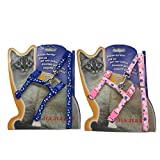 WORDERFUL Cat Harness and Leash Set Adjustable Pet Harness Vest 2 Pack for Small Animal Pattern Random