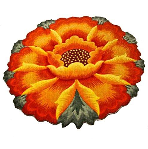 M&G House Sunflower Round Rug Mats Computer Chair Mat - Orange Flowers Design Bedroom Washable Antiskid Carpet/Area Rug 35.5 X 35.5 inch (Round Rug Flower)