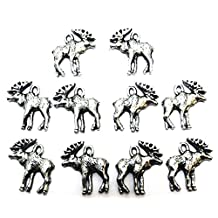 Set of Ten (10) Pewter Moose Charms