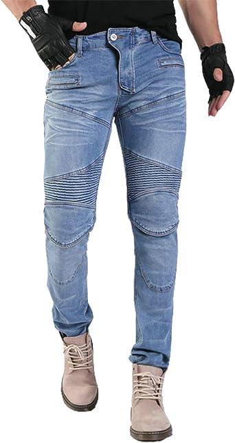 YuanDian Hombre Pantalones Vaqueros De Moto Mezclilla Jeans De Moto Pantalon Motociclista con Protecciones de Rodilla y Cadera Stretch Slim Fit Cargo ...