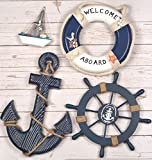 Wooden Nautical Lighthouse Anchor Wall Hanging Ornament, Beach Wooden Boat Ship Steering Wheel Wall Decor, Nautical Sailing Ship Table Display Decor, Nautical Life Ring Wall (Blue)