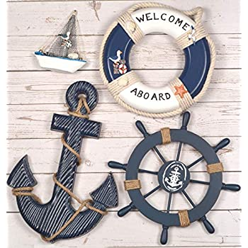Wooden Nautical Lighthouse Anchor Wall Hanging Ornament, Beach Wooden Boat Ship Steering Wheel Wall Decor, Nautical Sailing Ship Home Display Decor, Nautical Life Ring Wall Beach House Decor