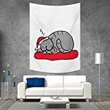 smallbeefly Christmas Wall Hanging Tapestries Cat with Santa Claus Hat Whiskers on The Pillow Winter Night Cartoon Artwork Large tablecloths 54W x 72L INCH White Red Grey