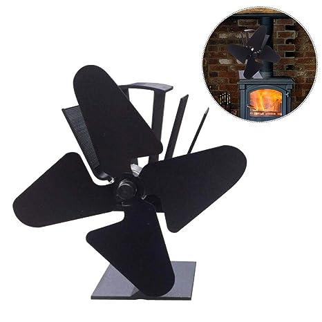 Arvin87Lyly Ventilador de 4 aspas para Estufa de leña o Chimenea, Ventilador para fogón accionado
