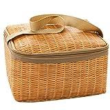 Goodscene Small Lunch Bag Spot Imitation Rattan Lunch Bag Thick Insulation Bag Waterproof Bag